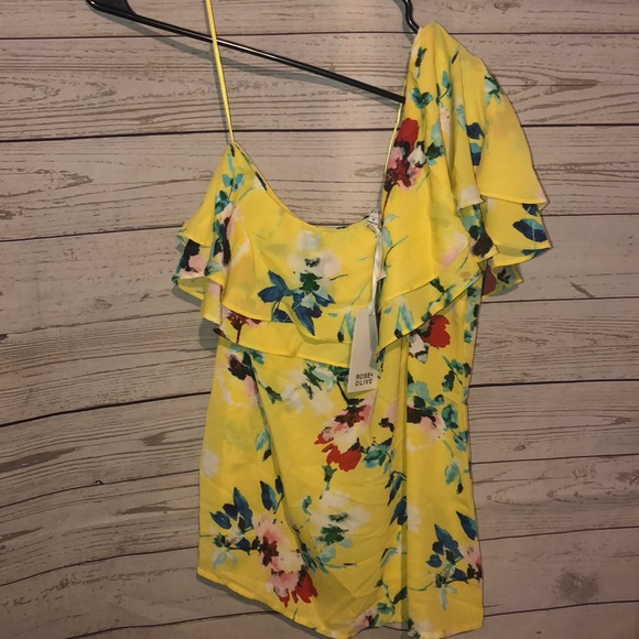 Rose & Olive Tops - Rose + Olive One shoulder Yellow Small Floral Top